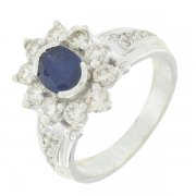 Bague marguerite diamants 1 carat et saphir en or blanc