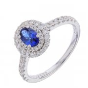 Bague ovale saphir 0,56 carat et diamants 0,48 carat en or blanc