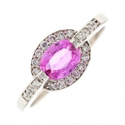 Bague saphir rose et diamants 0.22 carat en or blanc
