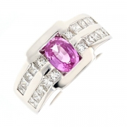 Bague saphir rose 1.80 carat et diamants 1.60 carat en or blanc
