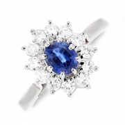 Bague marguerite saphir 0.57 carat et diamants 0.48 carat en or blanc
