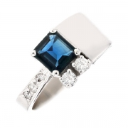 Bague saphir 0.85 carat et diamants 0.14 carat en or blanc
