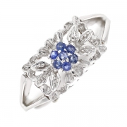 Bague fleur saphirs et diamants en or blanc