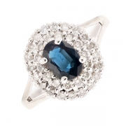 Bague saphir 0.92 carat et diamants 0.34 carat en or blanc