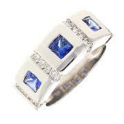 Bague saphirs 0.80 carat et diamants 0.28 carat en or blanc