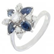Bague fleur vintage saphirs 0,80 carat et diamants 0,44 carat en or blanc