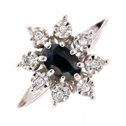 Bague marguerite diamants 0.08 carat et saphir 0.68 carat en or blanc