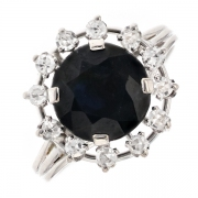 Bague saphir noir et diamants en or blanc
