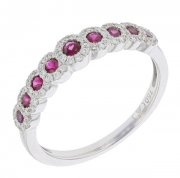 Bague rubis 0,46 carat et diamants 0,22 carat en or blanc