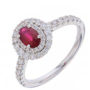 Bague ovale rubis 0,55 carat et diamants 0,47 carat en or blanc