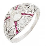 Bague diamants 0,88 carat et rubis en or blanc