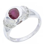 Bague rubis 0,92 carat et diamants en or blanc