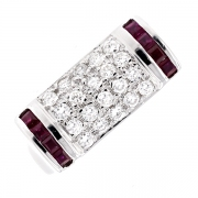 Bague pavage diamants 0.73 carat et rubis en or blanc