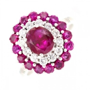 Bague rubis 2.87 carats et diamants 0.42 carat en or blanc