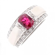 Bague rubis 1 carat et diamants 0.34 carat en or blanc