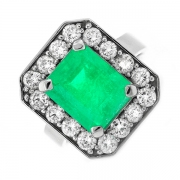 Bague rectangulaire émeraude 6.44 carats et diamants 2 carats en or blanc