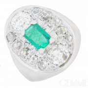 Bague �meraude et diamants 1,60 carat en or blanc - Occasion