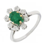 Bague marguerite vintage émeraude 0,63 carat et diamants 0,08 carat en or bicolore