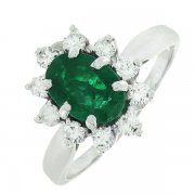 Bague marguerite vintage émeraude 0,95 carat et diamants 0,35 carat en or blanc