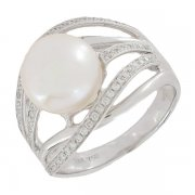 Bague perle et diamants 0,28 carat en or blanc
