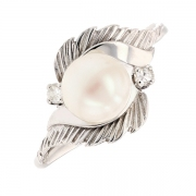 Bague perle de culture et diamants 8/8 en or blanc