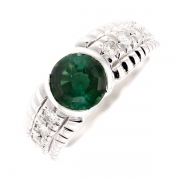 Bague tourmaline 1.77 carat et diamants 0.30 carat en or blanc