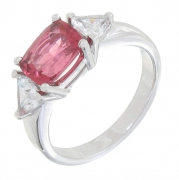 Bague tourmaline 1,95 carat et diamants 1,10 carat en or blanc