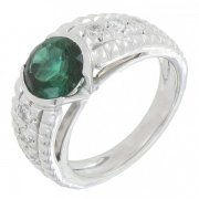 Bague tourmaline 1,10 carat et diamants 0,30 carats en or blanc