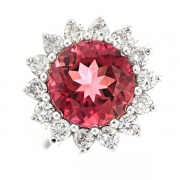Bague fleur tourmaline 4,29 carats et diamants 0,87 carat en or blanc