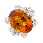 Bague citrine 12 carats et diamants 1.76 carat en or blanc