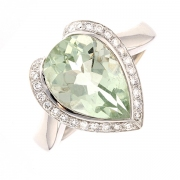 Bague quartz vert et diamants 0.14 carat en or blanc