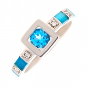 Bague topaze bleue 0.44 carat et diamants 0.04 carat en or blanc