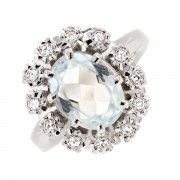 Bague marguerite aigue marine 1.38 carat et diamants 0.06 carat en or blanc