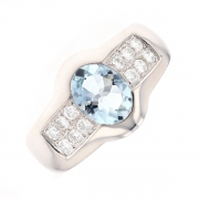 Bague aigue marine 1.15 carat et diamants 0.30 carat en or blanc
