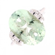 Bague prasiolite 8 carats et diamants 0.36 carat en or blanc