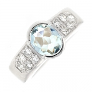 Bague aigue marine 1 carat et diamants 0.30 carat en or blanc