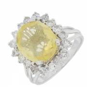 Bague marguerite vintage citrine 3,68 carats et diamants 0,90 carat en or blanc