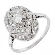 Bague ovale ART DECO diamants 0,20 carat en or blanc