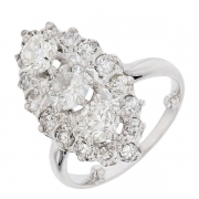 Bague navette ancienne diamants 2,89 carats en or blanc