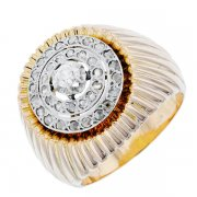 Bague dôme vintage pavage diamants 0,14 carat en or bicolore