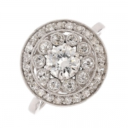 Ancienne bague de fiançaille ronde diamants 0,75 carat en or blanc