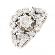 Bague fleur diamants 1 carat en or blanc
