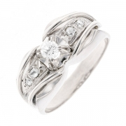 Bague ART DECO diamants 0.16 carat en or blanc