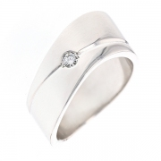Bague contemporaine vague diamant 0.07 carat en or blanc