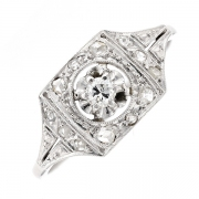 Bague ART DECO diamants 0.08 carat en or blanc