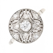 Bague ronde ancienne diamants 0.29 carat en or blanc