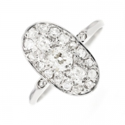 Bague ovale diamants 0.66 carat en or blanc