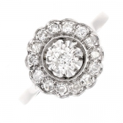 Bague ronde ancienne diamants 0.45 carat en or blanc