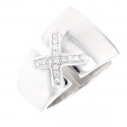 Bague liens diamants 0.15 carat en or blanc