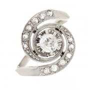 Bague tourbillon diamants 0.30 carat en or blanc